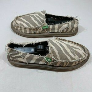Women's Sanuk Size 6 Tan Zebra Print Loafer Shoes